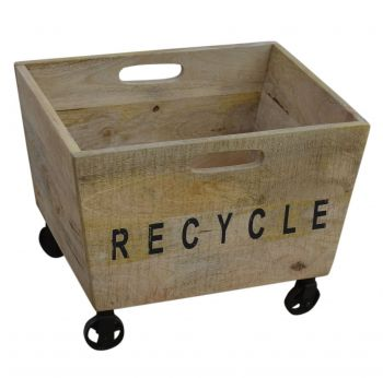 Industrial Recycled Basket On Cast Iron Wheels