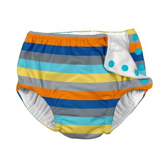 Snap Reusable Absorbent Swimsuit Diaper-Gray Multistripe
