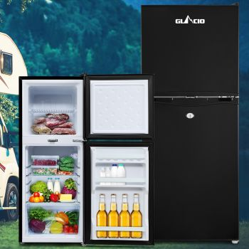 Glacio 120L Portable Fridge Bar Freezer Cooler Upright 12V/24V/240V Caravan 4WD Car Camping Black
