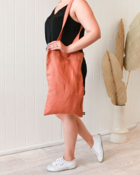 Linen Tote Bag - Small - Rust -30x50