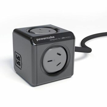 ALLOCACOC POWERCUBE Extended 4 Outlets with 2 USB 1.5M - Black