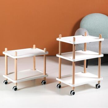 3-Tier Utility Rolling Cart with Lockable Wheels Convertible to 2-Tier Side Table