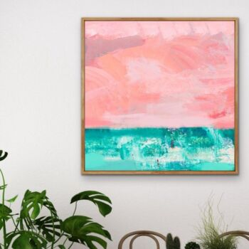 Memories Of You - Abstract Beach Pink Turquoise Blue Canvas Wall Art Print s
