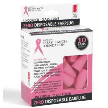 NBCF Zero Pink Disposable Earplug 26dB (10 pack)