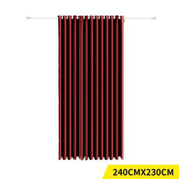 Deluxe Blockout 3 Layered Eyelet Pure Fabric Curtain Single Panel in Burgundy