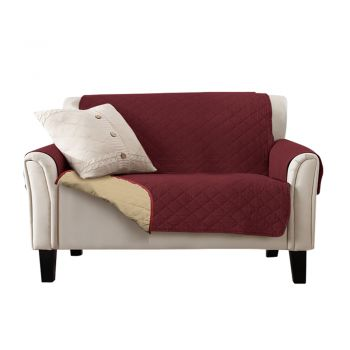 Sofa Cover Quilted Slipcovers Waterproof Burgundy and Khaki 224cm x 190cm