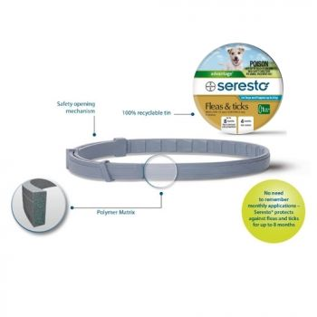 Seresto Flea & Tick Collar (lasts up to 8 months) - Dogs Under 8kg