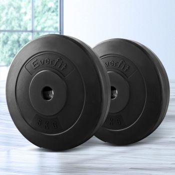 Everfit 2X 5KG Barbell Weight Plates Standard Home Gym Press Fitness Exercise Weights