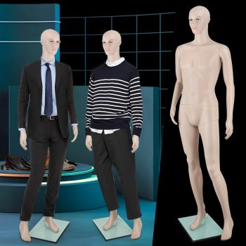 Full Body 185cm Male Mannequin Head Clothes Display Dressmaking Showcase Torso