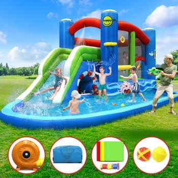 Happy Hop Inflatable Water Slide Jumping Trampoline Castle Bouncer Toy Splash