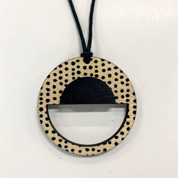 Circle Pendant with black spots and black