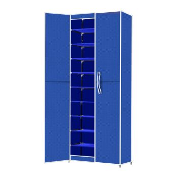 Levede 10 Tier Stackables Shoe Rack Portable Organiser in Blue Cover