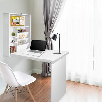 Foldable Wall Mount Computer Desk Study Office Table Storage Bookcase