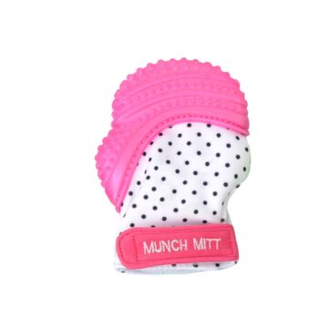 Munch Mitt Teething Mitten Pink Dots