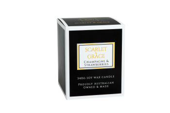 Scarlet & Grace 340G Soy Wax Candle - Champagne & Strawberries Fragrance