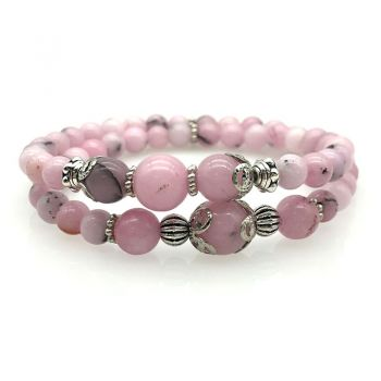6-10mm Natural Cherry Blossom Double Row Beaded Stretch Bracelet