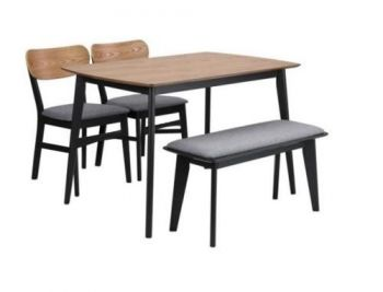 Kanaka 4 PC 4-Seater Industrial Dining Set With 2 Dining Chairs & 1 Bench
