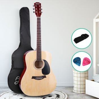 Guitar Acoustic Guitars 41 Inch Wooden Folk Classical Cutaway Steel String For Kids and Adult Natural Wood Alpha