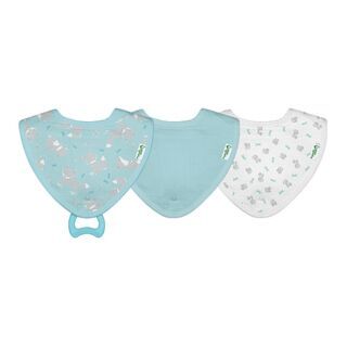 Muslin Stay-dry Teether Bibs made from Organic Cotton (3pk)-Aqua Fox-0/12mo