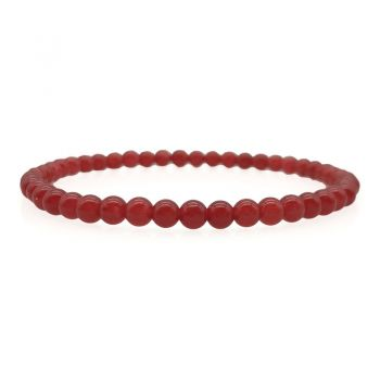 Men's Red Malaysia Jade Protection Stretch Beaded Bracelet