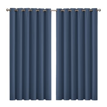 2x Blockout Curtains Panels 3 Layers Eyelet 240x230cm in Indigo