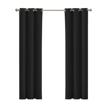 DreamZ Blackout Curtain Eyelet 102x160cm in Black