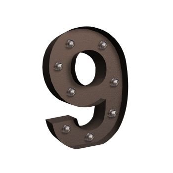 LED Metal Number Free Standing Hanging Lights Marquee Event Party Decor Number 9