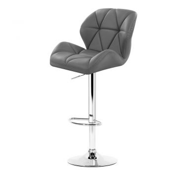 Artiss 4x Kitchen Bar Stools Swivel Bar Stool Leather Gas Lift Chairs Grey