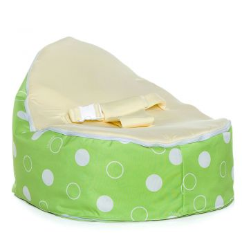Chibebe Green Polka Baby Bean Bag - Cream