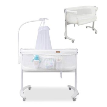 Baby Bassinet Cot Crib Bed Timber Bedside Bed with Mosquito Net Canopy