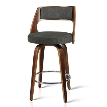 Artiss 4x Wooden Bar Stools Swivel Bar Stool Kitchen Chairs Charcoal Fabric