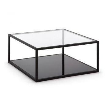 Kalego Square Coffee Table - Metal Frame - Clear Glass Top