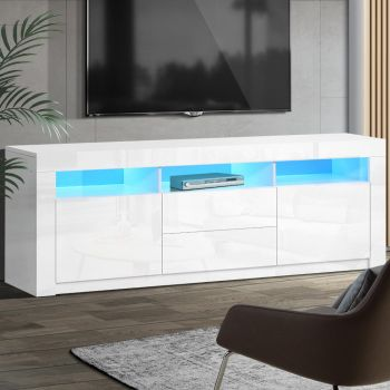 Artiss TV Cabinet Entertainment Unit Stand RGB LED High Gloss Furniture Storage Drawers Shelf 200cm White