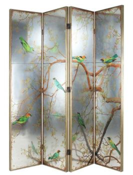 Exotic Melodies Mirror Bird Dressing Screen/Room Divider