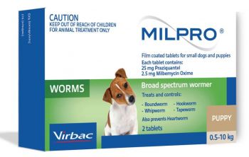 VIRBAC MILPRO PUPPY 0.5-10KG 2PACK