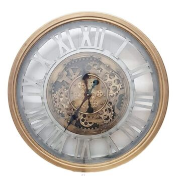 Round 72Cm Venitian Classic Moving Cogs Wall Clock - Gold W/ Silver