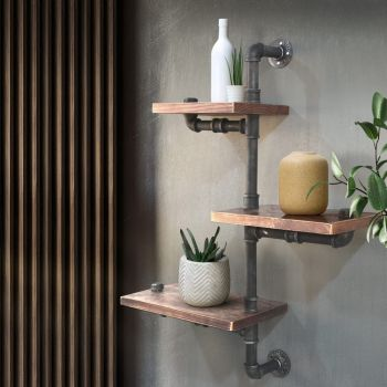 Artiss Industrial DIY Pipe Shelf Rustic Wall Shelves Brackets Display Bookshelf 3 levels