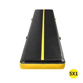 5x1M Inflatable Air Track Mat for Home Gymnastics in Yellow