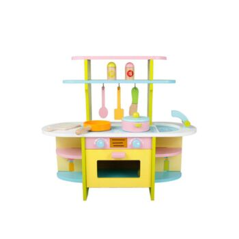 Wooden Pretend Role Play Kitchen Hearth Play Set for Kids Full Set Cookware