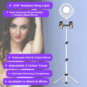 NEWAVE 12 Inch LED Ring Light with Stand Set