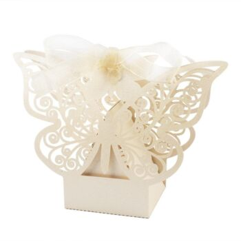 50 Pack - Ivory Cream Butterfly Wedding Bomboniere Favor Candy Soap Card Box 7.5 x 5 x 5 cm