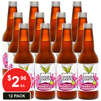12 Pack, Good Earth 330ml Kombucha Pomegranate & Acai