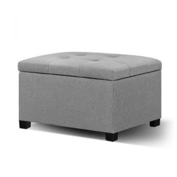 Storage Ottoman Blanket Box Linen Foot Stool Chest Couch Bench Toy Grey