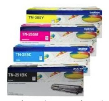 Brother TN251/TN255 HIGH CAPACITY FOUR PACK - one of each Black, Cyan, Magenta and Yellow Toner Cartridge-TN251 estimated yield 2500 pages for the black TN255 estimated yield 2200 pages for each colour-BN25X4PK