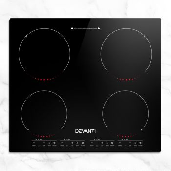 Induction Cooktop 60cm Electric Portable Ceramic Glass Cook Top Kitchen Cooker Stove Hob Hot Plate 4Zone Cooking Burners BuiltIn Black