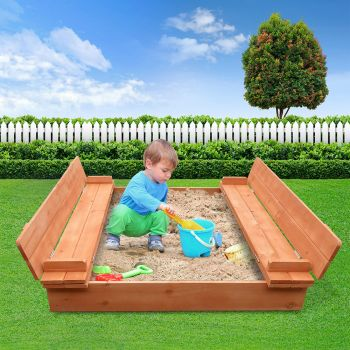 Sandpit Toy Box Kids Square Sand Pit Wooden Outdoor Play Set Large Seat