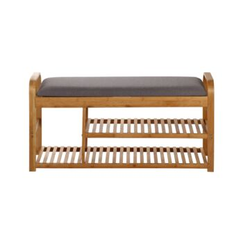 Sherwood Home Foldable Bamboo Cushioned Bench Shoe Storage 3-Tier