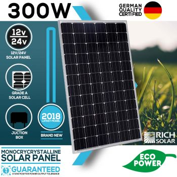 300W Solar Panel Mono 12V Single Power Kit Camping Power Battery Charge Caravan