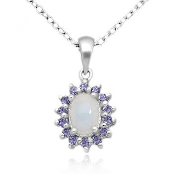 Natural Opal & Tanzanite 925 Sterling Silver Pendant Necklace