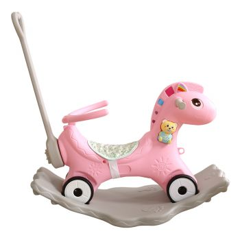 BoPeep Kids 4-in-1 Rocking Horse Toddler Baby Horses Ride On Toy Rocker Pink